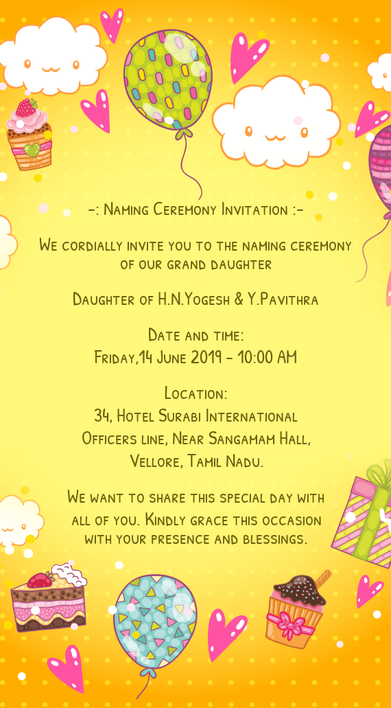 Naming Ceremony Invitation Free Cards