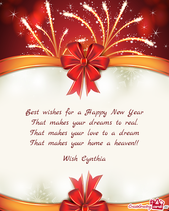 Best wishes for a Happy New Year - Free cards