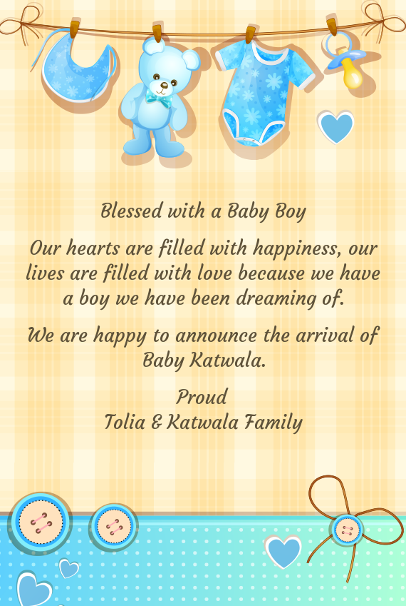 Blessed With A Baby Boy Free Cards