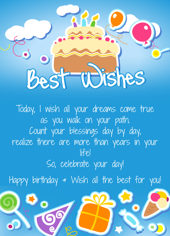 Incredible Celebrate Your Day Happy Birthday Wish All The Best For You Personalised Birthday Cards Bromeletsinfo