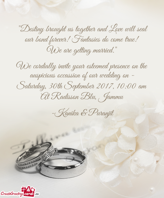 """Destiny brought us together and Love will seal our bond forever! Fantasies do come true"