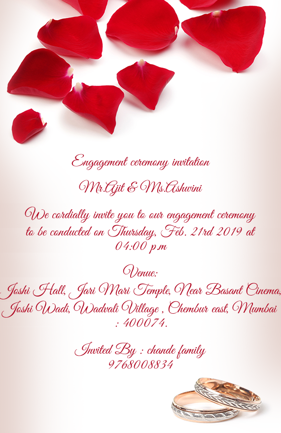 Engagement Ceremony Invitation Mr Free Cards