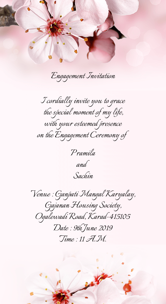Engagement Invitation      I cordially invite you to grace