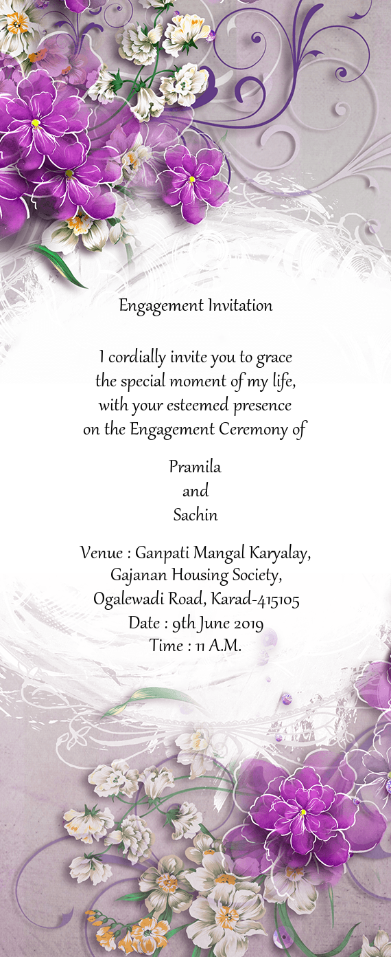 Engagement Invitation I Cordially Invite You To Grace Free