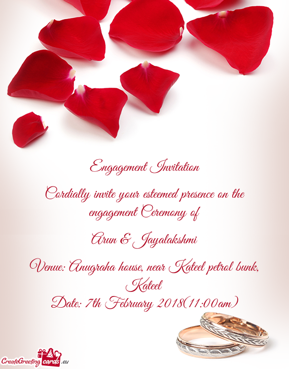 Engagement Invitation Cordially invite your esteemed ...