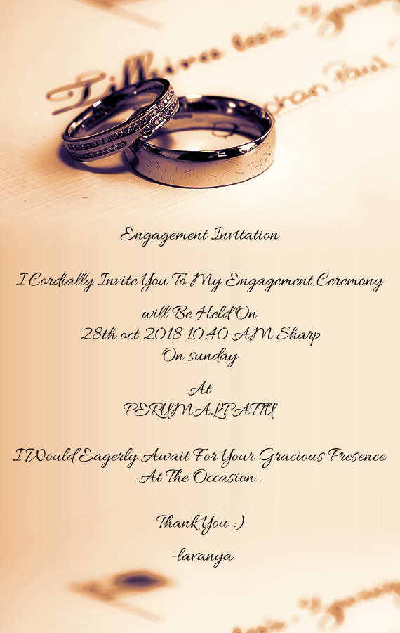 Engagement Invitation I Cordially Invite You To My