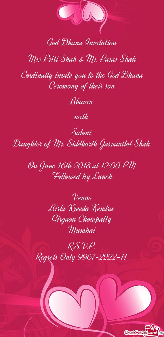 god dhana invitation