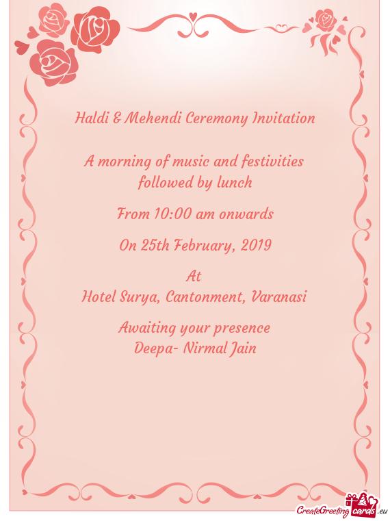 Haldi Mehendi Ceremony Invitation Free Cards