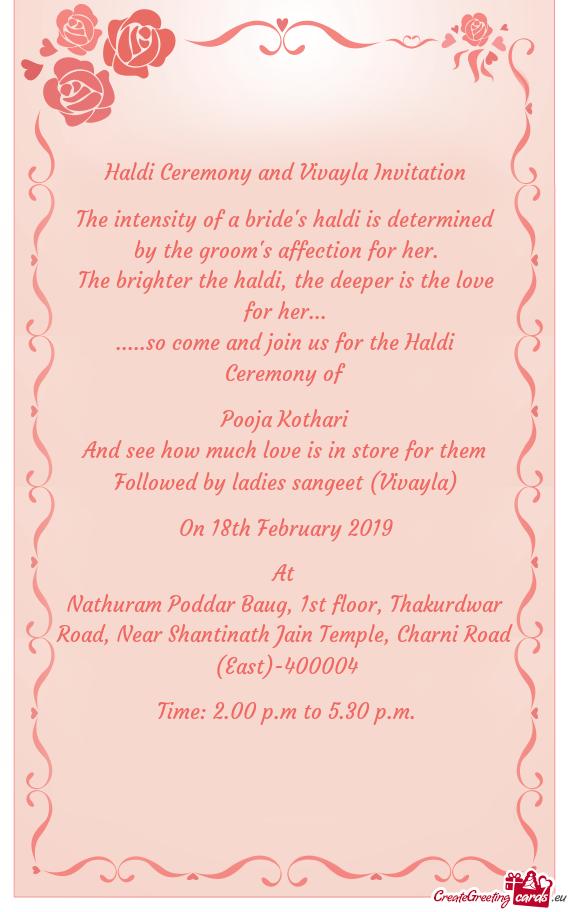 Haldi Ceremony And Vivayla Invitation Free Cards