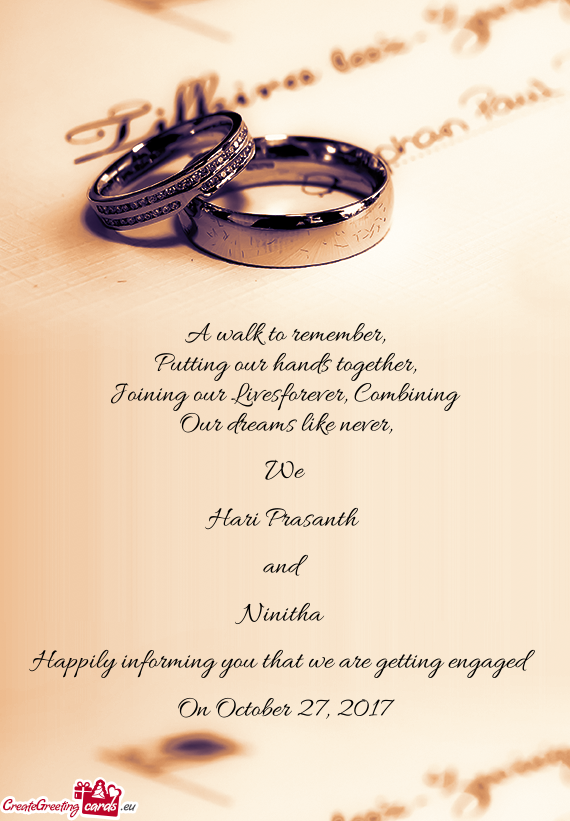 happily informing you that we are getting engaged free cards