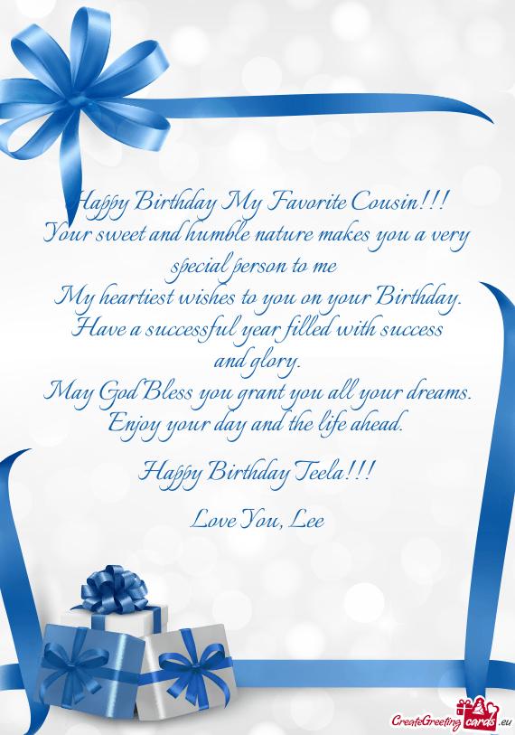 Happy Birthday My Favorite Cousin