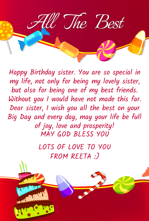 Happy Birthday Sister You Are So Special In My Life Not Only For Being My Lovely Sister But Also Free Cards
