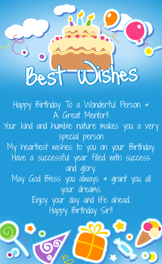 Happy Birthday To A Wonderful Person A Great Mentor Free Cards