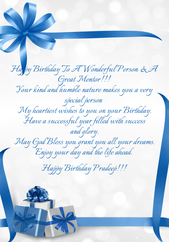 Happy Birthday To A Wonderful Person A Great Mentor Free Cards Happy Birthday Wishes To Mentor