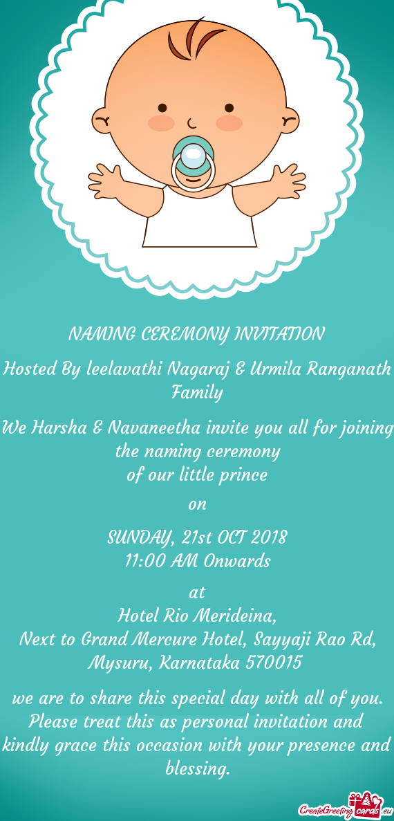 Hosted By leelavathi Nagaraj & Urmila Ranganath Family