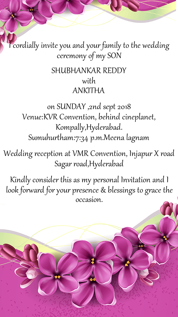 I Cordially Invite You And Your Family To The Wedding Ceremony Of My Son Free Cards