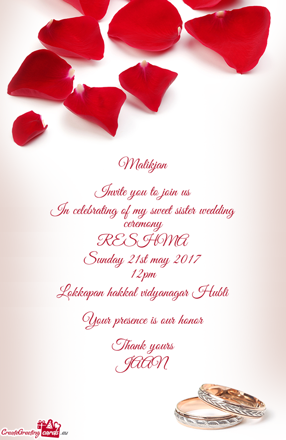 In Celebrating Of My Sweet Sister Wedding Ceremony Free Cards