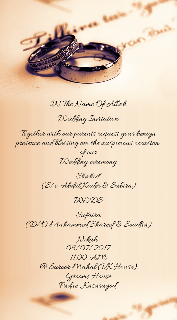 IN The Name Of Allah Wedding Invitation Together