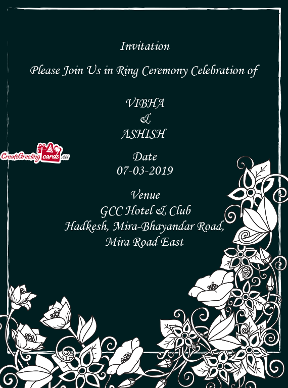 Invitation     Please Join Us in Ring Ceremony Celebration