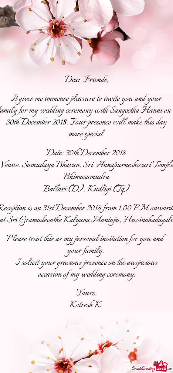 It gives me immense pleasure to invite