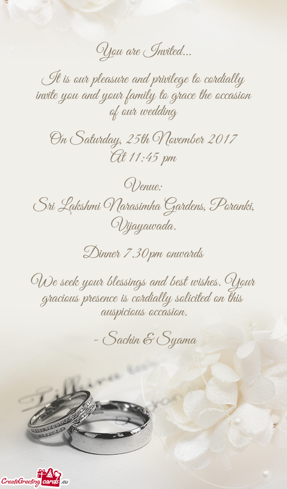 It Is Our Pleasure And Privilege To Cordially Invite You And Your