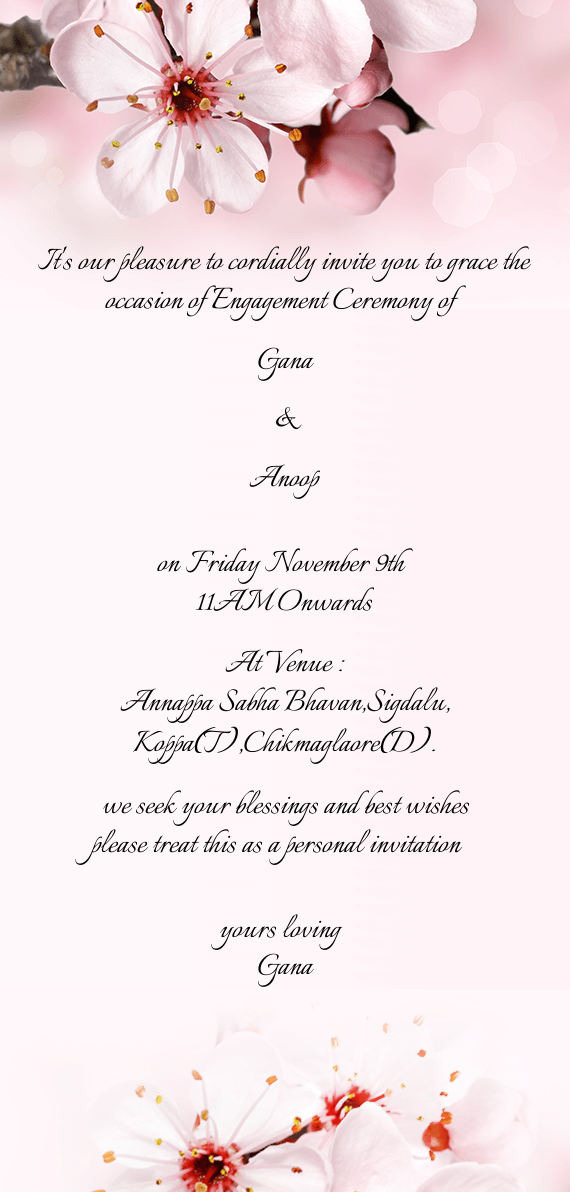 It S Our Pleasure To Cordially Invite You To Grace The Occasion Of Engagement Ceremony Of Free Cards