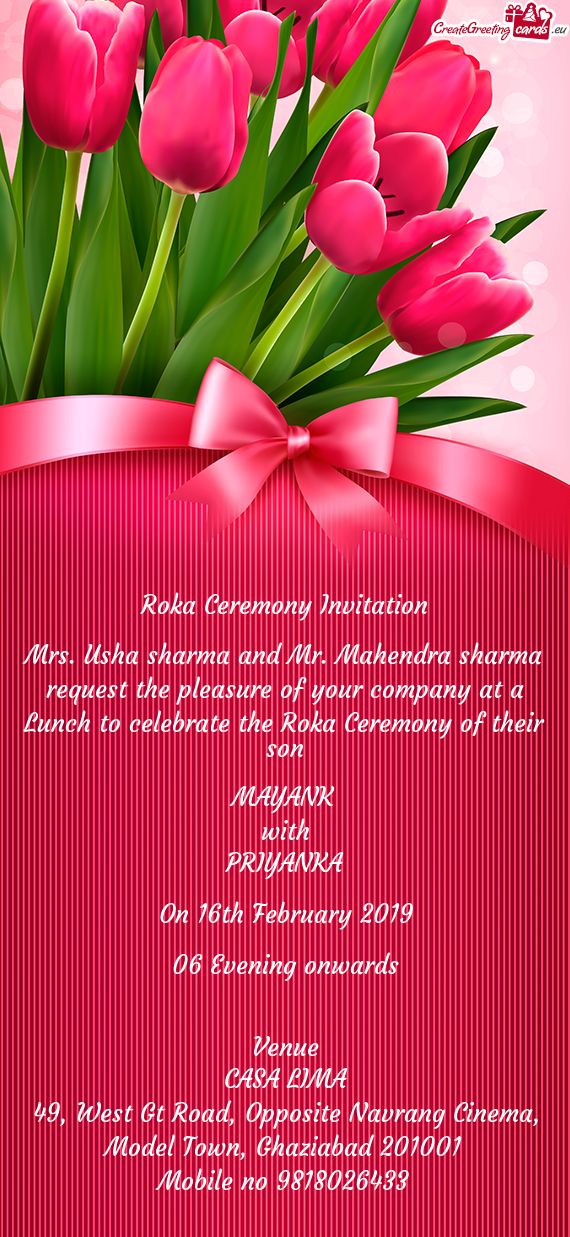 Mrs. Usha sharma and Mr. Mahendra sharma request the pleasure of your company at a Lunch to celebrat