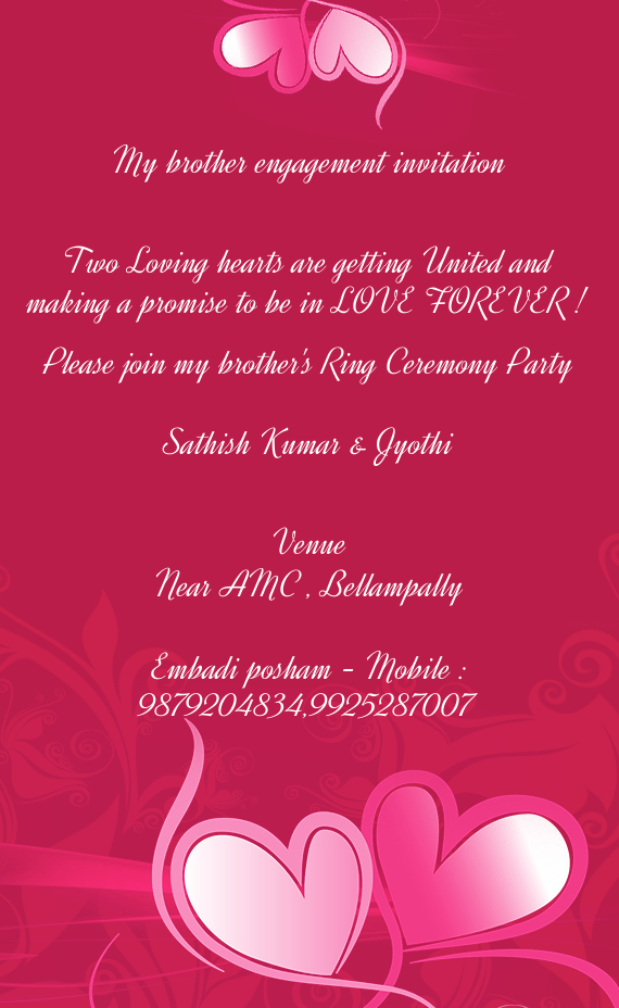 download card - Engagement Invitation Card
