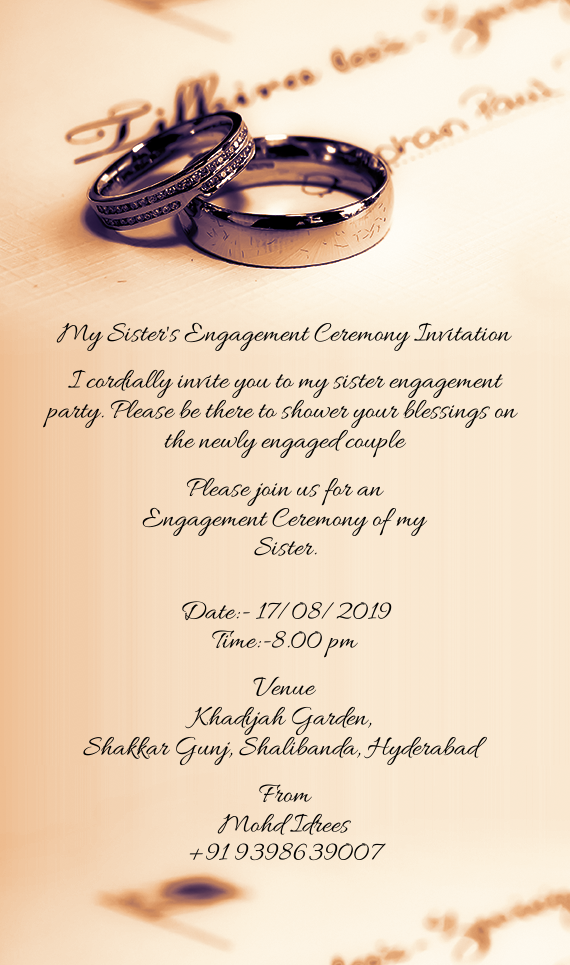 My Sister S Engagement Ceremony Invitation Free Cards