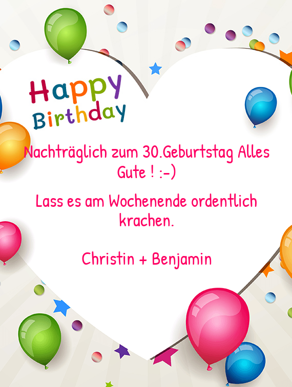 nachtr glich zum 30 geburtstag alles gute free cards. Black Bedroom Furniture Sets. Home Design Ideas