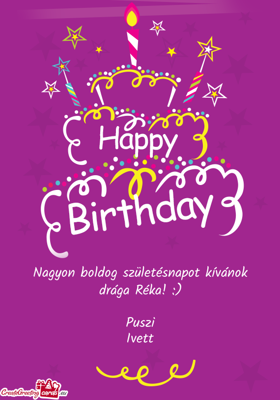 nagyon boldog szuletesnapot Nagyon boldog születésnapot kívánok drága Réka   Free cards nagyon boldog szuletesnapot