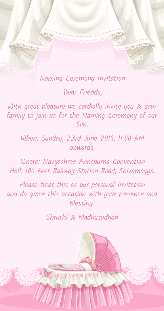Naming Ceremony Invitation Dear Friends - Free cards