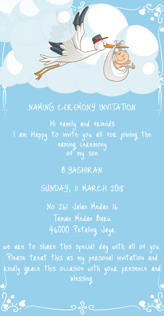 NAMING CEREMONY INVITATION - Free cards