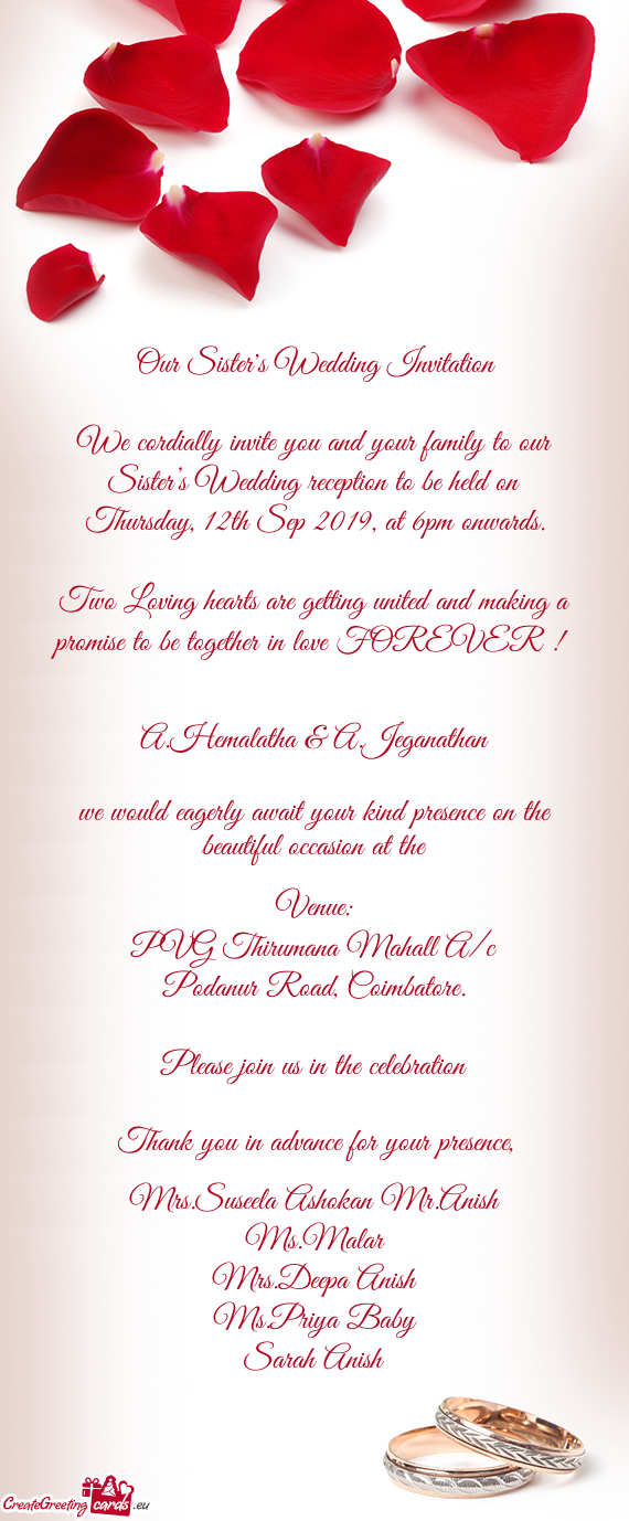 Our Sister S Wedding Invitation Free Cards
