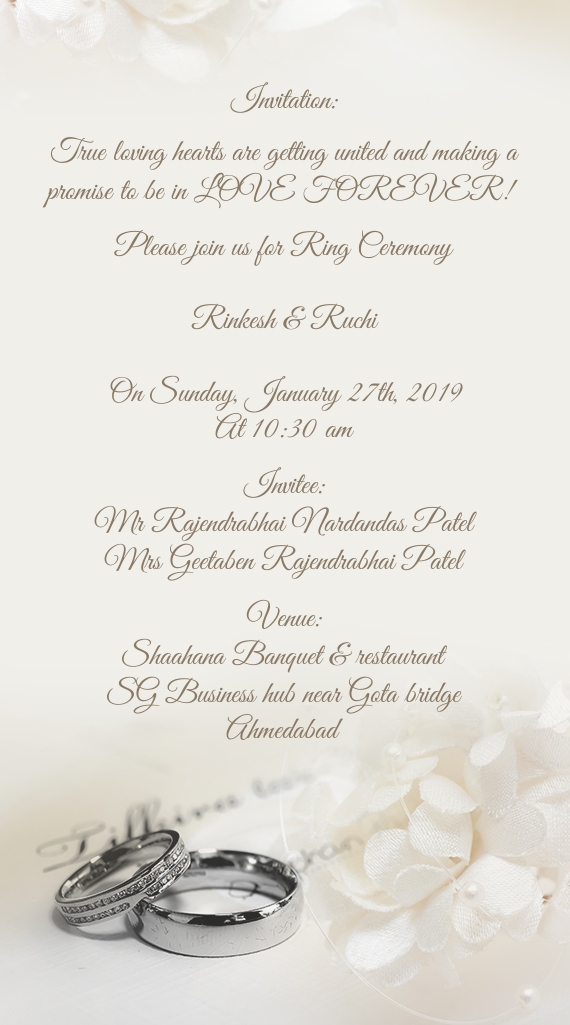 please join us for ring ceremony  free cards