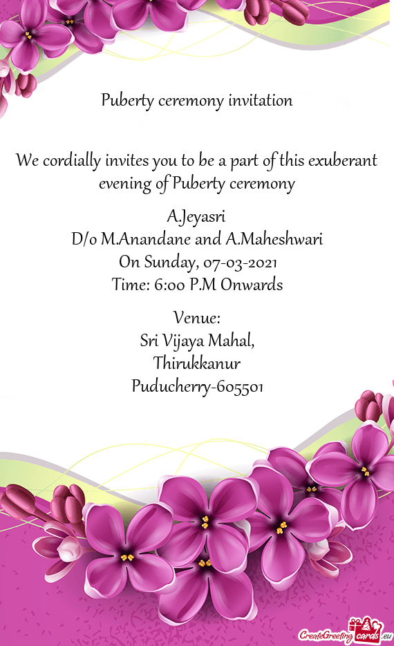 Puberty ceremony invitation