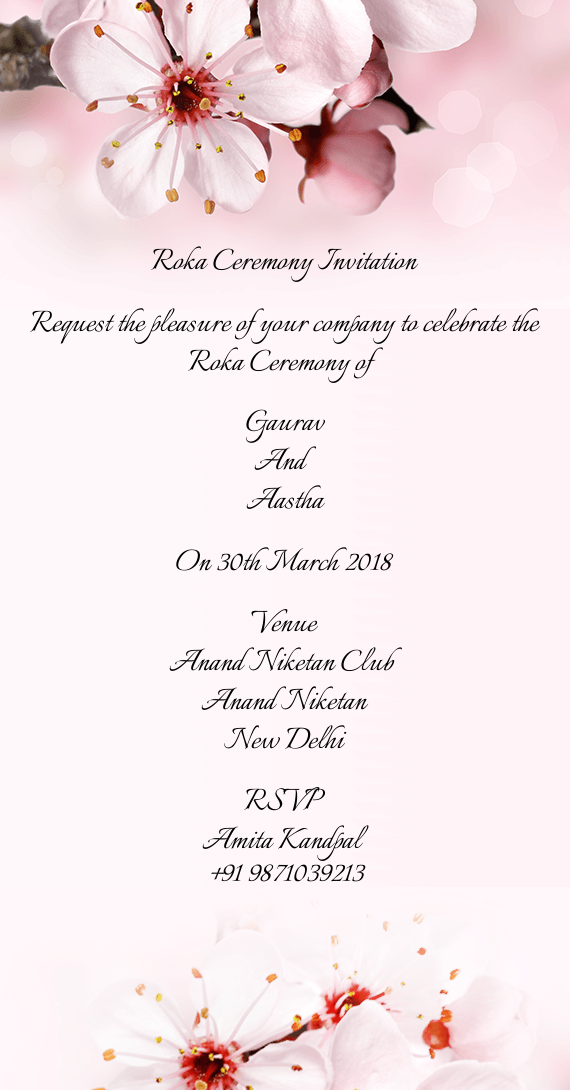request the pleasure of your company to celebrate the roka