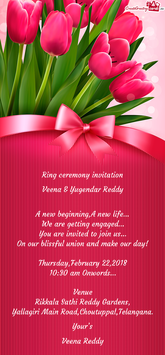 Ring ceremony invitation     Veena & Yugendar Reddy