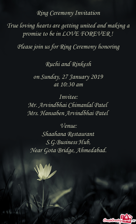 Ring Ceremony Invitation    True loving hearts are getting