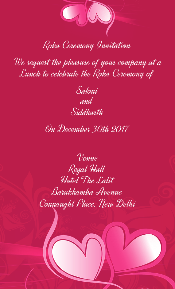 Roka Ceremony Invitation Free Cards