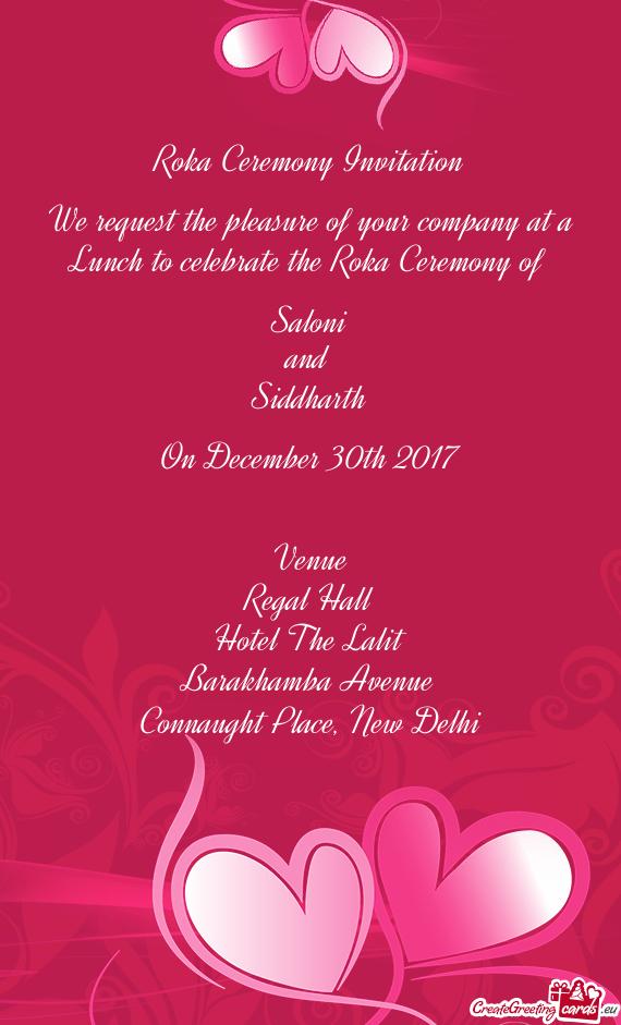 roka ceremony invitation