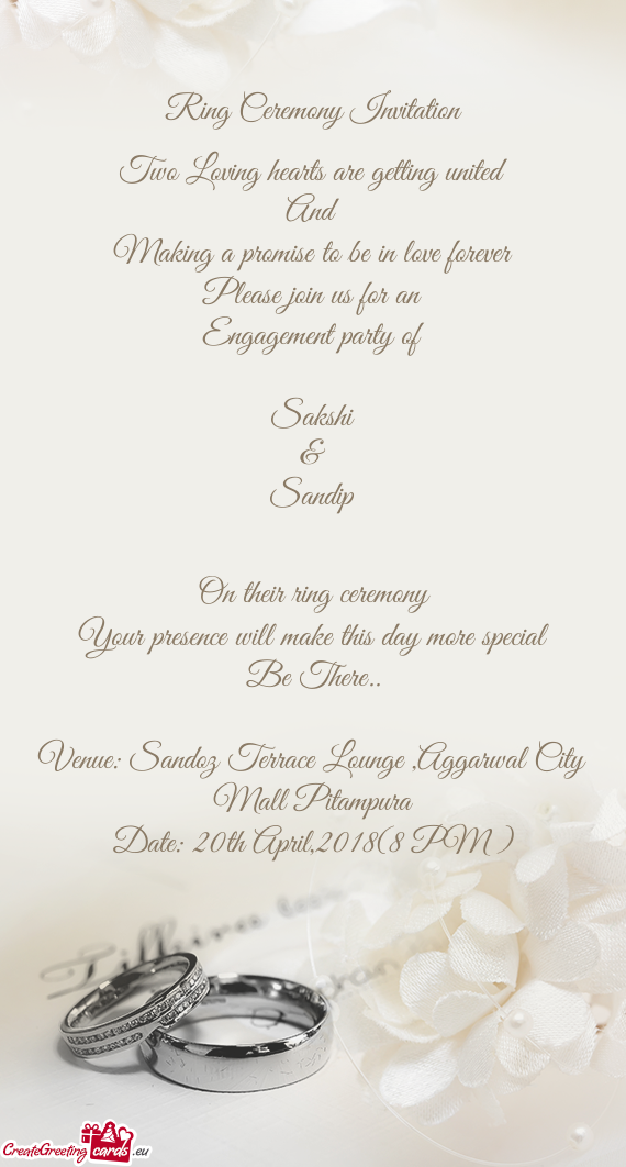 Sandip on their ring ceremony your presence will make this day more address cards picture cards picture to be stopboris Image collections