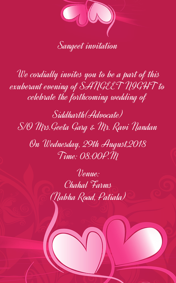 sangeet invitation