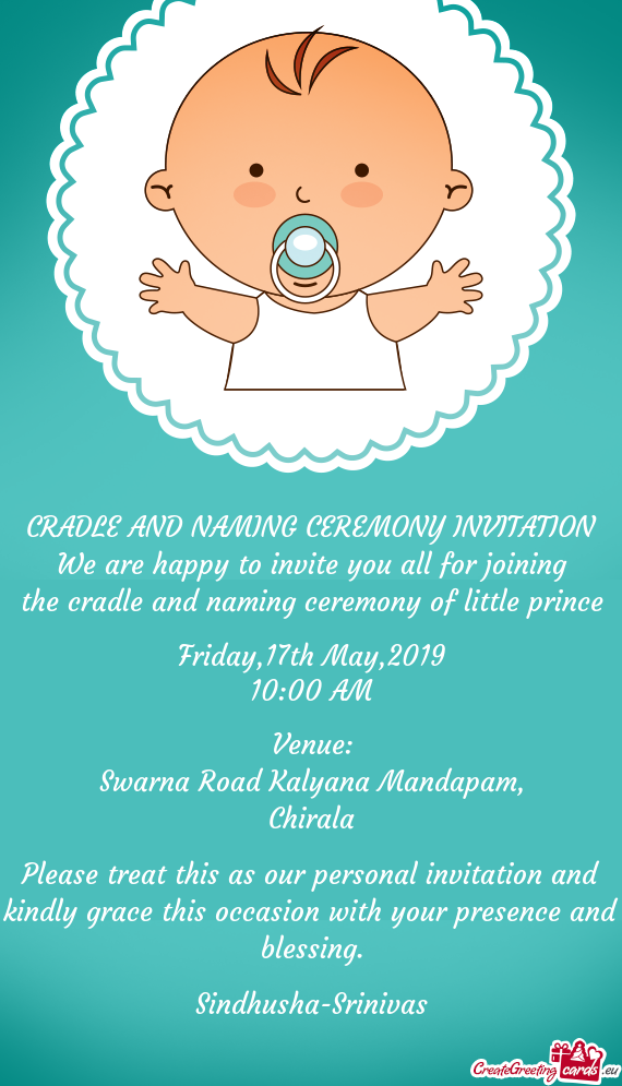 The cradle and naming ceremony of little prince