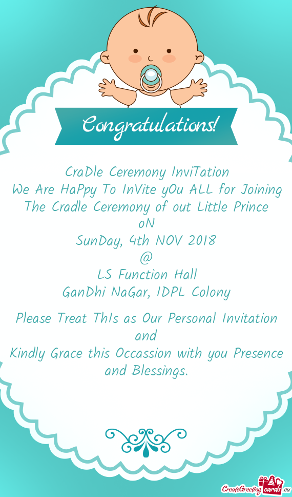 The Cradle Ceremony of out Little Prince - Free cards