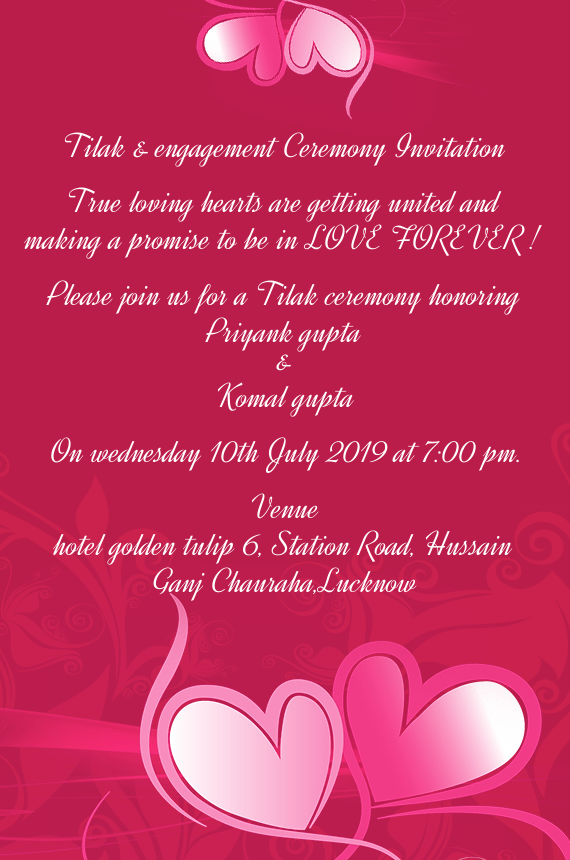 Tilak Engagement Ceremony Invitation Free Cards