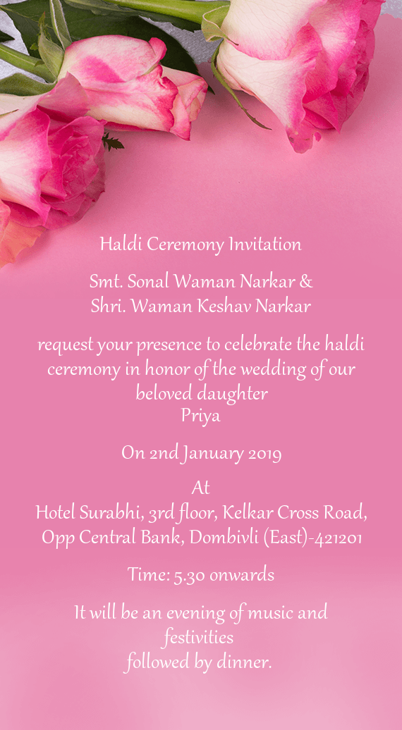 Waman Keshav Narkar Request Your Presence To Celebrate The Haldi