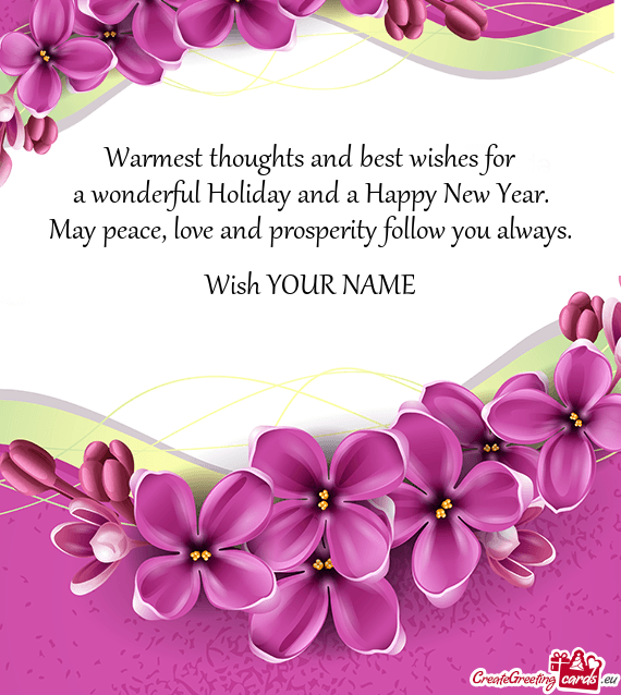 Warmest thoughts and best wishes for - Free cards