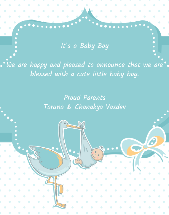 We are happy and pleased to announce that we are blessed with a cute little baby boy