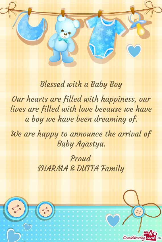 a228f822198 We are happy to announce the arrival of Baby Agastya - Free cards